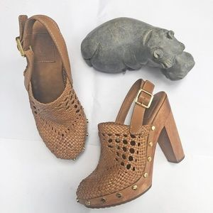 Tory Burch Widdianne Tan Leather Woven Clog 6.5